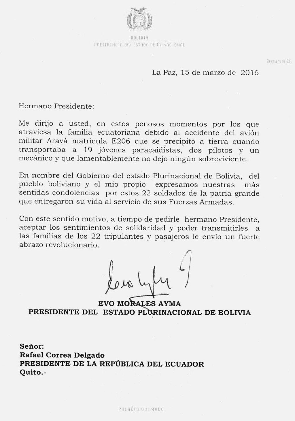 Morales expresa sus condolencias por el deceso de 22 militares en ...