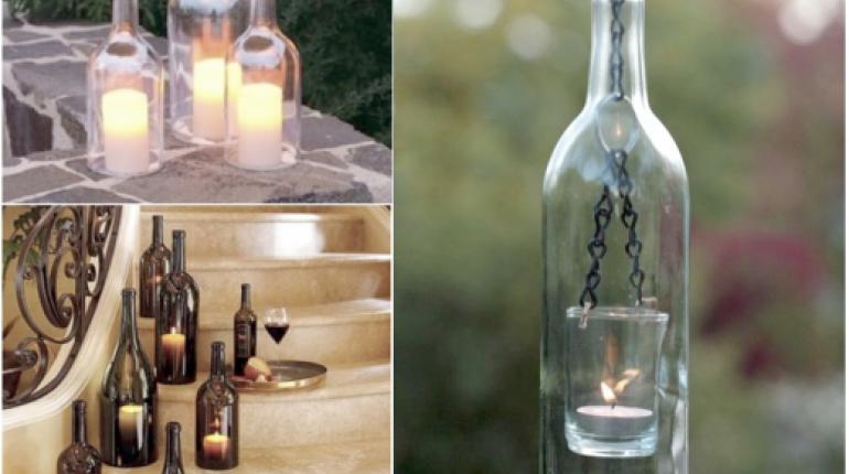Decoraci n con botellas de cristal los tiempos - Botellas con velas ...