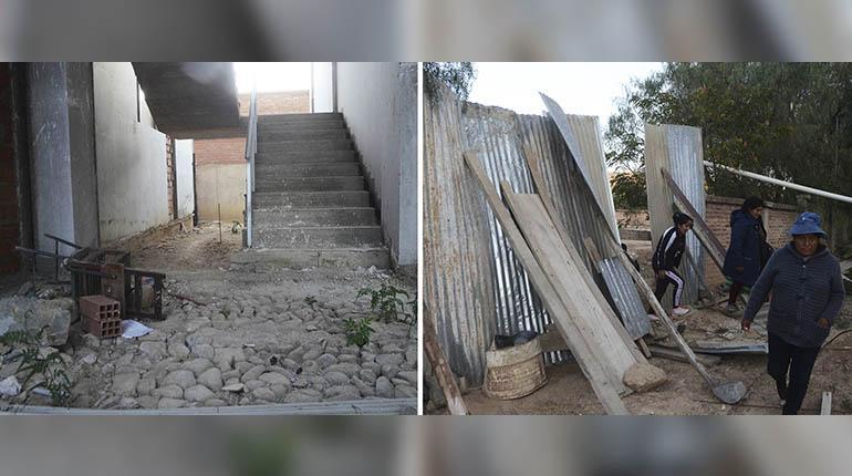 Los colegios sólo se limpian con agua por falta de material
